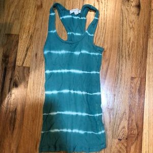 Racerback teal and white tiedye tank top